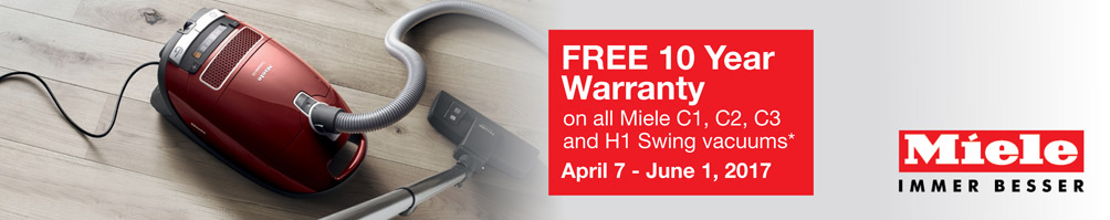 Miele Vacuum Promotion - Free 10 Year Warranty